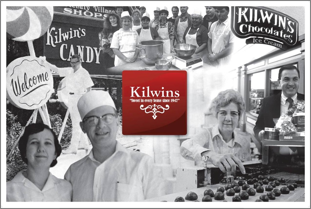 "Kilwins logo surrounded by black & white ""Heritage"" photos of original owners"