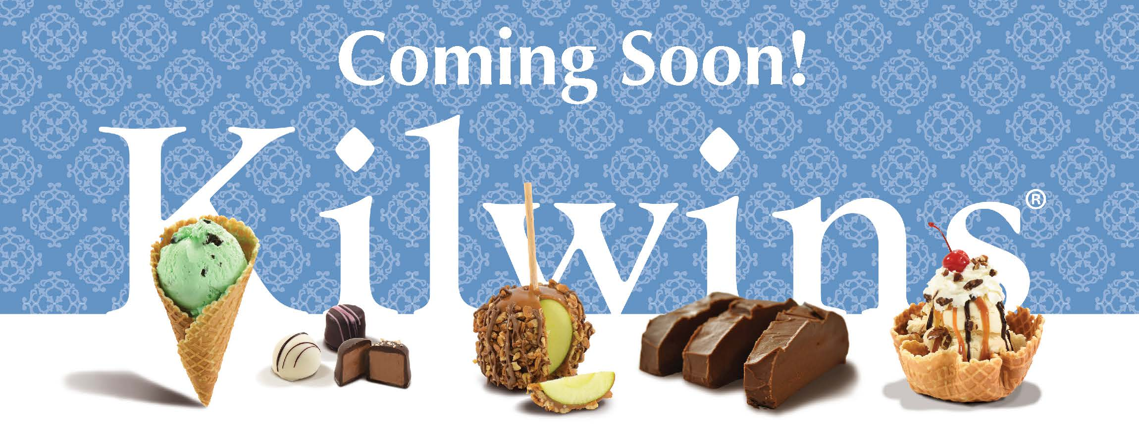 """Graphic showing Kilwins Logo with array of product and the words """"Coming Soon!"""""""