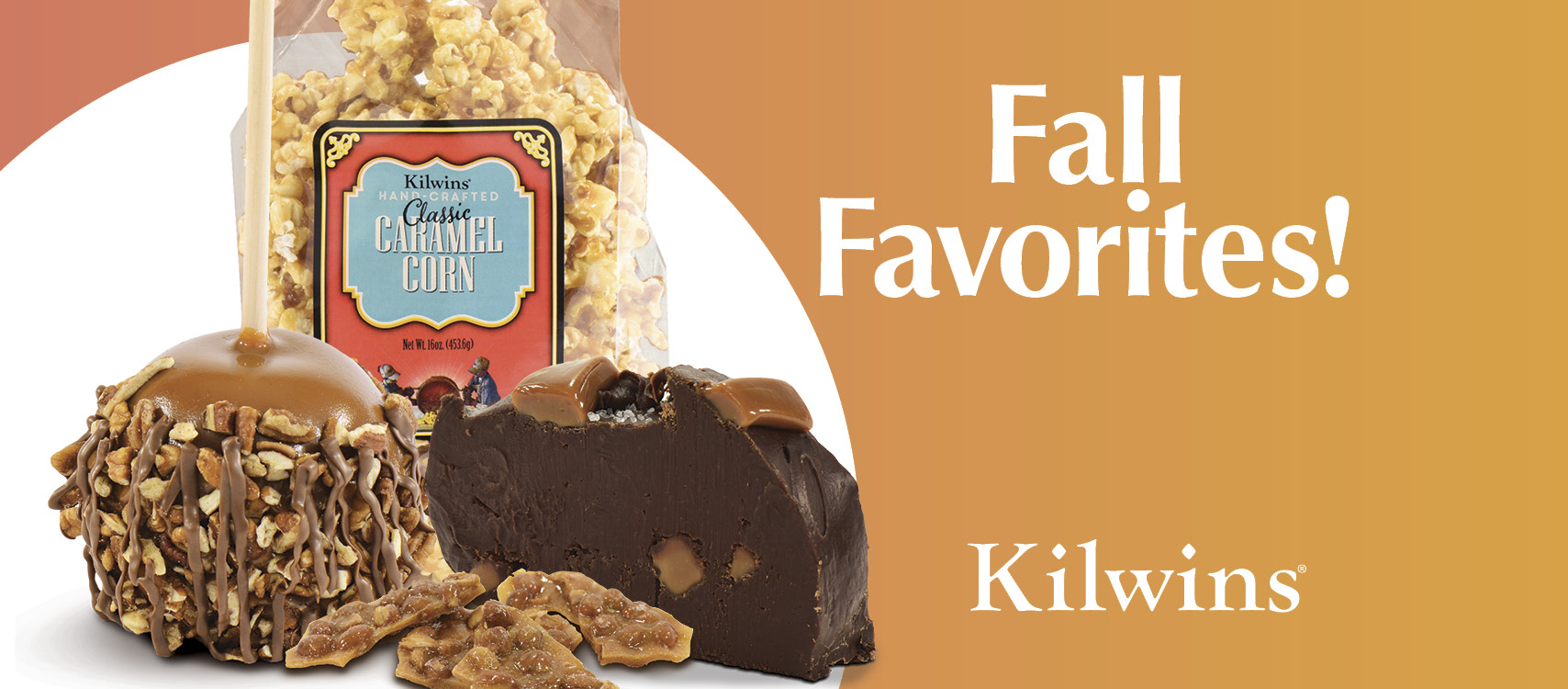 """Photo of Caramel Corn, Turtle Caramel Apple, Peanut Brittle, and Fudge with the words """"Fall Favorites!"""""""