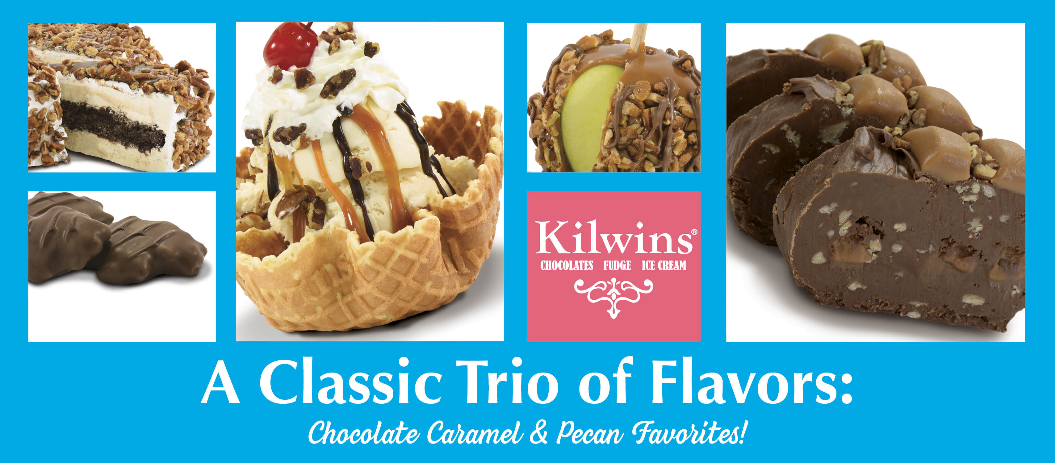 Pictures of a Kilwins treats featuring pecans, caramel, and chocolate such as ice cream sundaes, cakes, turtles, and caramel apples