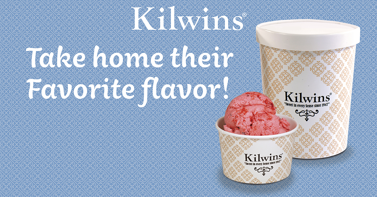 "Photo of quart of Ice Cream with dish of Traverse City Cherry Ice Cream in dish with text, ""Take home their favorite flavor!"""