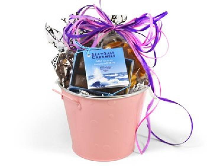 Gift basket filled with Kilwins caramels