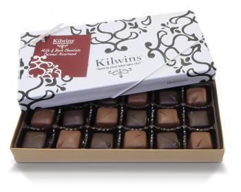 A box of Kilwins Caramels