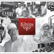 """Kilwins logo surrounded by black & white """"Heritage"""" photos of original owners"""
