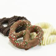 Photo of chocolate dipped pretzels