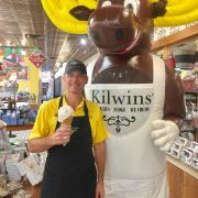 Picture of The Kilwins Moose with the owner of Kilwins San Antonio