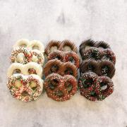 Chocolate-covered pretzels with sprinkles