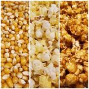 A picture showing corn, popped corn, and Caramel Corn
