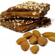 Buttery almond toffee covered in creamy milk chocolate and sprinkled with chopped almonds