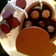 A picture of a Chocolate Heart Box filled with chocolates