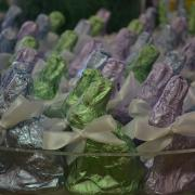 Close up photo of Kilwins foil wrapped bunnies