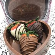 Picture of Chocolate Heart Box with chocolate dipped strawberries