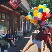 Balloons outside of The Kilwins St. Charles