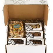 gifts, gift basket. valentines day, chocolate, ice cream, Kosher, mother's day, fairy food, caramel, sea-salt caramel, peanut brittle, peppermint bark, truffles, chocolate heart box, heart box
