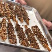 Photo of Turtle Pretzel Rods on tray