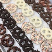 A photo of Chocolate Sprinkled and Striped Pretzel Twists