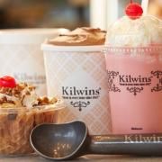 Photo of Strawberry Milkshake, Quart of Chocolate Ice Cream, Kilwins Turtle Sundae and ice cream scoop