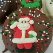 Photo of Chocolate-Dipped Cookies with Christmas Icing Toppers