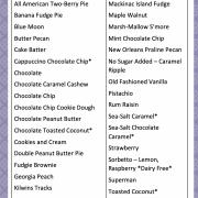 Photo of the ice cream menu card