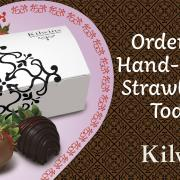 Graphic promoting hand-dipped chocolate strawberries