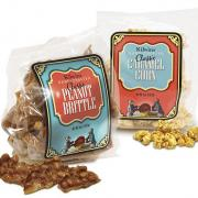 Photo of bag of Peanut Brittle and bag of Caramel Corn