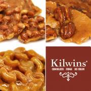 A picture of Kilwins peanut brittle, cashew brittle, pecan brittle