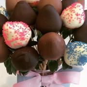 Photo of bouquet of various Chocolate-Dipped Strawberries
