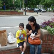 Enjoying ice cream at Kilwins Holland