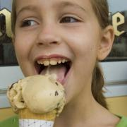 Picture of a girl enjoying an ice cream cone