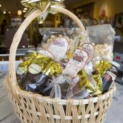 A basket display of Kilwins products