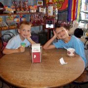 Picture of two children hanging out at Kilwins