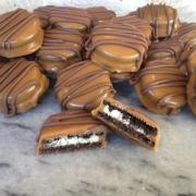 Photo of caramel dipped Oreo cookies