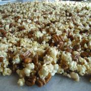 Nutcrackers Sweets Popcorn, cooling on the table in our front window