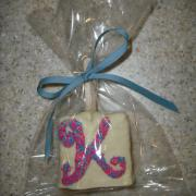 A white chocolate krispie party favor