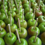 Granny Smith Apples prepped and ready to be dunked in caramel