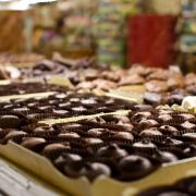 Closeup photo of Chocolates Case in Kilwins Ft. Lauderdale store