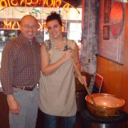 Photo of the owner and team member getting ready to make fudge