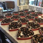Valentine's Day boxed chocolates on display