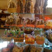 Interior photo of the store decorated for Easter