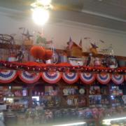 Interior of the store decorated for the 4th of July