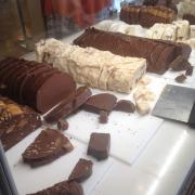 Loaves of Sliced Fudge in Fudge Case