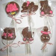 Chocolate baby shower lollipops