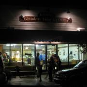 Exterior evening photo of the store front