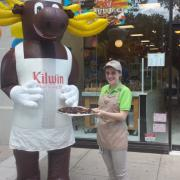 Outside the store with The Kilwins Moose