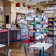 Photo of interior of Kilwins Wheaton store decorated for Christmas