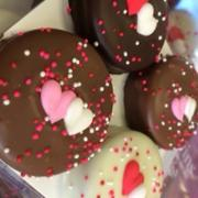 Valentine's Day themed chocolate dipped Oreo cookies