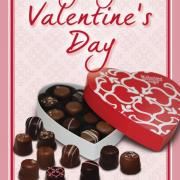 "Photo of heart box full of Chocolates with the text, ""Perfect for Valentine's Day"""