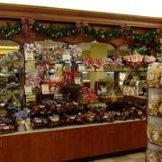 Interior picture of the store decorated for Christmas