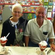 A couple celebrating their anniversary at Kilwins