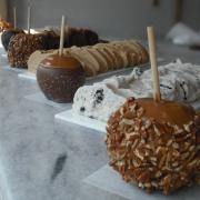 Caramel apples and fudge in our front window
